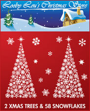 2 XMAS TREE & 58 SNOWFLAKE CHRISTMAS WINDOW STICKERS CLINGS - REUSEABLE