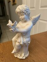 "Vintage White Resin 11.5"" Tall Angel Sitting Pedestal Holding Bird In Hands"