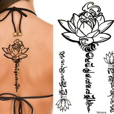 Flower Lotus Text Back Bracelet Black Henna Lace Temporary Tattoo Tattoo Sticker