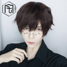 Handsome Boy Cosplay Brown Harajuku Full Wig Short Hair Girl Gay Periwig Unisex