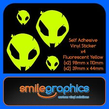 BMW S1000RR Alien Head Decals Fluorescent Yellow Stickers