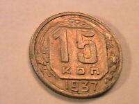 1937 Russia 15 Kopek Ch AU Lustrous Original Soviet Union USSR World Coin