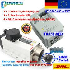 【DE】Square 2.2KW 220V Air Cooled ER20 Spindle Motor+Fuling VFD Inverter CNC Kit
