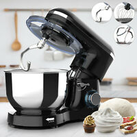 Electric Food Stand Mixer 6 Speed 6QT 850W Tilt-Head Stainless Steel Bowl Black