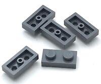 Lego 5 New Dark Bluish Gray Plates 1 x 2 Pieces