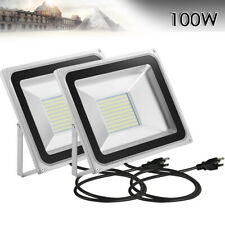 2 X 100W LED Flood Light Cool White Outdoor Garden Fence Lamp With US Plug IP65