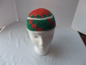 vtg crochet yamaka beanie skull cap orange green star African kufi muslim uzbek