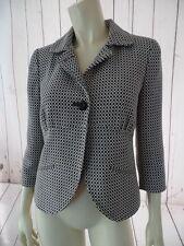 WORTHINGTON Knit Blazer 4 Black White Poly Rayon Stretch Lined Cutaway Hem CHIC!