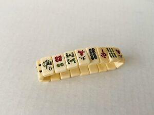 """7"""" - Antique Mah Jong Tile Bracelet 18 Small Tiles Stretch Original,"""