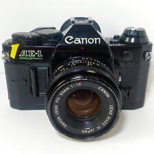 Nice Canon AE-1 Program Black 35mm SLR Film Camera w/ FD 50mm 1:1.8 f1.8 Lens