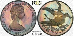 1973-FM BVI SILVER ONE DOLLAR PCGS PR67DCAM COLOR TONED ONLY 3 GRADED HIGHER