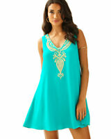NWT $238 Lilly Pulitzer Owen Dress Agate Green & Gold Embroidered Swing Size L