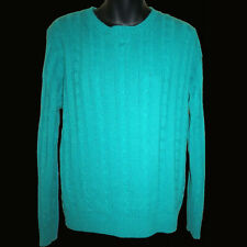 Sz L 70s Vtg Crew Neck Cabled Sweater Sears Fashion Place Kelly Green Acrylic