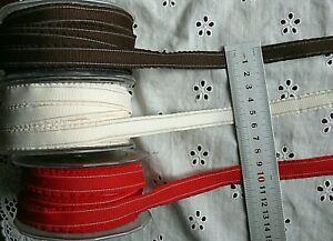 CHLOE Solid Poly Ruffle Edge & White Stitch 13mm3MetreLength 3 Colour Choice H4B