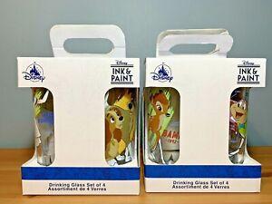 Disney INK & PAINT DRINKING GLASSES - FULL SET OF 8 DRINKING GLASSES BNWT
