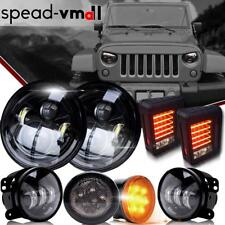 "Jeep Wrangler JK 7"" LED Headlight Fog Turn Signal Light Tail Lights Combo Kit"