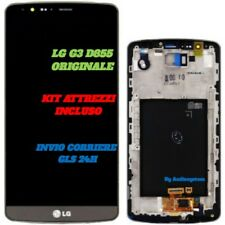 DISPLAY LCD +TOUCH SCREEN ORIGINALE +FRAME per LG G3 D855 NERO GRIGIO VETRO NUOV