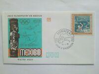 MONACO Timbre 1° jour enveloppe FDC lettre JO MEXICO 1968 WATER POLO