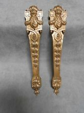"2 FRENCH Antique Bronze Embellishments Plaques Finials 12.50"" L"