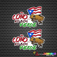 2x COQUI COÑO NO SOY VERDE WITH PUERTO RICO FLAG VINYL CAR STICKERS DECALS