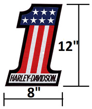 12x8 AMERICAN Harley Davidoson Motorcycles LARGE USA FLAG Iron-On Patch -OEM NOS