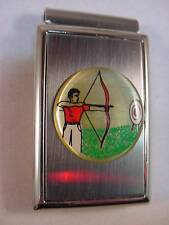 MALE ARCHER BOW and ARROW ARCHERY SATIN and CHROME MONEY CLIP BOXED NEW