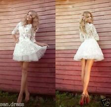 Half Sleeve Lace Mini Short Beach Wedding Dress Bridal Gown Custom 2 4 6 8 10 ++