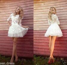 Half Sleeve Lace Mini Short Beach Wedding Dress Bridal Gown Custom 2 4 6 8 10 ++