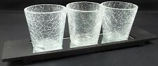 4 Mercury Styled Crackle Glass Clear Tea Light Candle Holders w/ Mirrored Tray