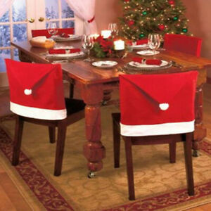 6 Christmas Chair Cover Santa Hat Decoration & Xmas Table Cover Set Dinner Decor