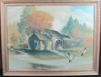 "A.F. Mettel The Old Mill Color Etching Heavy Framed Vintage 25.5"" W  X 19.5"" H"