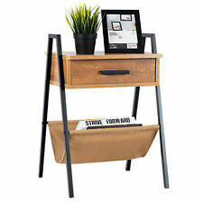 Accent End Side Sofa Table Nightstand Drawer Display Storage W/ Magazine Holder