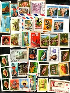 Papua New Guinea kiloware - 166 x stamps, nice colourful mixture (75Y)