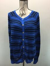 Juicy Couture Women Cardigan Sweater Blue Black Stripe Gold Buttons S Cable Knit