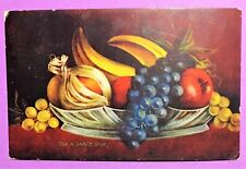 Vintage Antique Post Card With Stamp, Fruit Bowl, Writing Dates Back To 1910