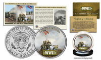 WWII * Battle of Iwo Jima * JFK Kennedy Half Dollar U.S. Coin with Fact Card
