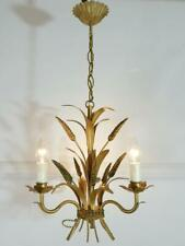 More details for gorgeous vintage french gold tolewear wheatsheaf 3 light chandelier