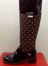 Damen Schuhe Braun Stiefel Stiefeletten Boots Blockabsatz Gr, 36-40 mit Nieten