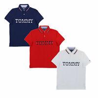 Tommy Hilfiger Mens Polo Shirt Custom Fit Mesh Graphic Logo Short Sleeve New Nwt