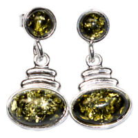 4.2g Authentic Baltic Amber 925 Sterling Silver Earrings Jewelry N-A8002