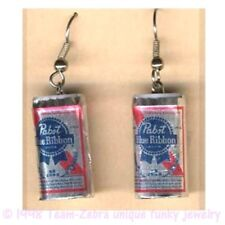 Funky PABST BEER CANS EARRINGS Sports Bar Drink Brewery Party Costume Jewelry