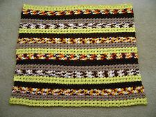 Vintage Handmade Crochet Afghan Throw Lap Blanket Yellow Orange Brown Retro