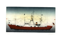 Alois Janak: Rotes Schiff. [19]85. Signierte Original-Farbradierung.