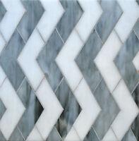 CHEVRON GREY WITH WHITE GLASS MOSAIC TILE BACKSPLASH WALL