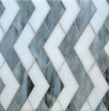 CHEVRON GREY WITH WHITE GLASS MOSAIC TILE BACKSPLASH WALL