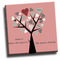 Personalised Family Tree Canvas Picture Add Your Own Names, Text & Quote