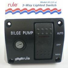 Rule Marine Bilge Pump Switch Panel 12v- 12 Volt - 3 Way Rocker Switch - AS80