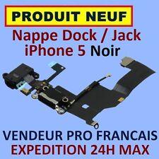 ✖ NAPPE PRISE CONNECTEUR USB DOCK LIGHTNING JACK ECOUTEURS MICRO IPHONE 5 NOIR ✖