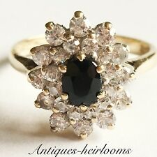 Beautiful Vintage 375 9ct Gold Sapphire Cluster ring Fully Hallmarked Quality