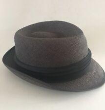 Trilby Fedora Men's Hat 6 7/8 Small  Vintage New York Dark Gray Black Band
